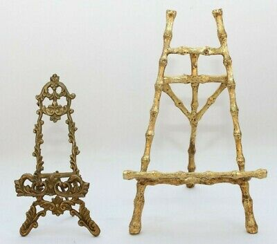 Table Top Picture Frame Holder Vintage Ornate Metal Gold Colored Bamboo Like