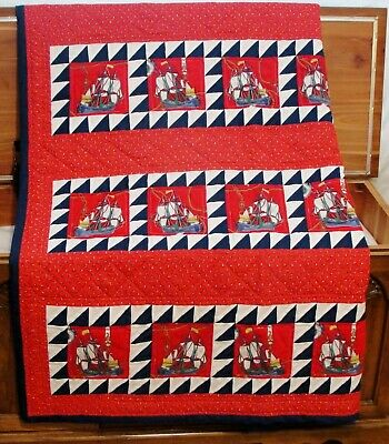 Twin Size Nautical Theme Red White Blue Quilt 100% Cotton Handcrafted Patchwork