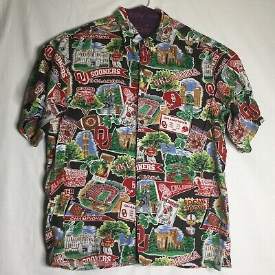 79fa46ebf REYN SPOONER OU Sooners Shirt All Over Print University Of Oklahoma Sz XL  Rayon