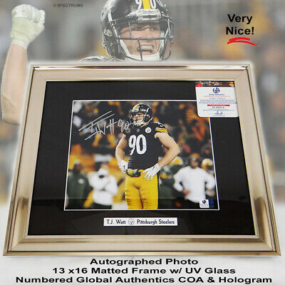 71f5b97c53c Autographed Signed TJ Watt Pittsburgh Steelers Real Photo Framed 13x16 w/  COA