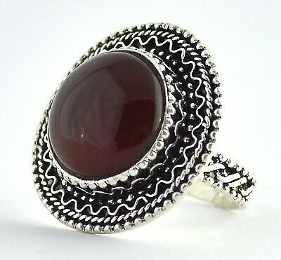 Yemeni Kabdi Red Aqeeq Akik (Agate) Stone, Yemen Silver Ring (For Women) عقيق