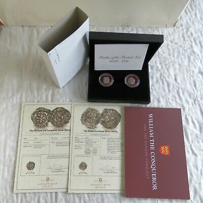 WILLIAM THE CONQUEROR AND ROBERT CURTHOSE SILVER PENNY PAIR  - boxed/coas