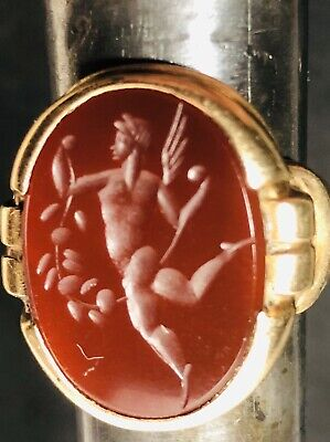 Antique Roman Carnelian Intaglio Ring Size 8 10k Solid Gold Band