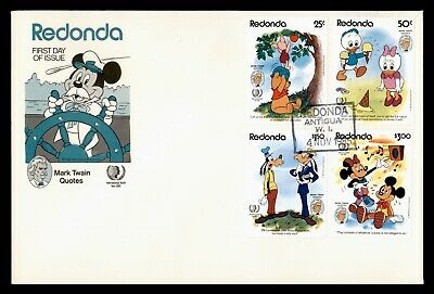 DR WHO 1985 REDONDA FDC DISNEY MICKEY MOUSE MARK TWAIN QUOTES COMBO  d85087