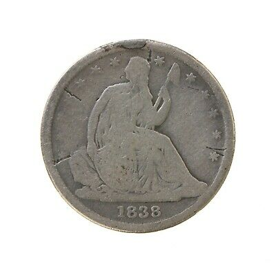 Raw 1838 Seated Liberty 10C No Drapery Circulated US Mint Silver Dime Coin