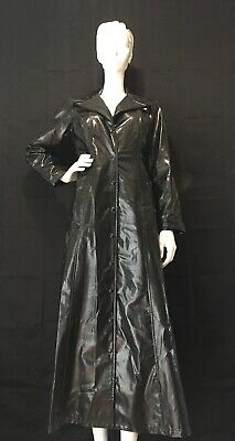 Vintage Betsey Johnson Patent Leather Trench Coat RARE 90's Goth Grunge Size M