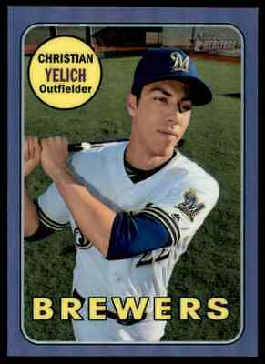 2019 Topps Heritage High Number Purple Refractor Christian Yelich Brewers #720