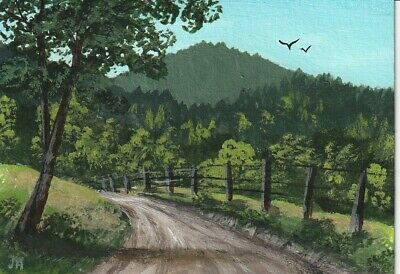 "aceo original acrylic painting ""Country Road""  by J. Hutson"