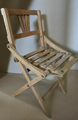 Vintage Folding Childrens Child Wooden Chair Display Deco Made Czechoslovakia