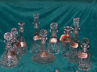 Waterford Crystal Glass Ware Complete Bar Set Decanter Bottle Liquior
