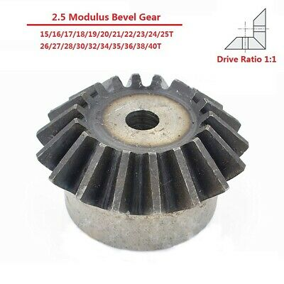2.5 Modulus 15/16/17/18-40T Umbrella Tooth 90° 1:1 Pairing 45# Steel Bevel Gear