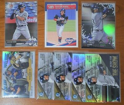 KESTON HIURA ~ LOT x8 ~ 2017 Bowman 1st Prospect CHROME Inserts REFRACTOR & USA