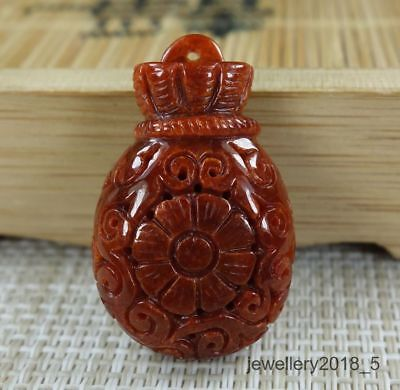 Certified  Brown Red 100% natural A jadeite jade Pendant ~ Purse 钱袋