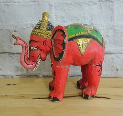 Large Vintage Hand Painted Gold Gilt Carved Asian Wooden Elephant