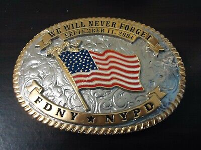 Belt Buckle ~ Limited Edition FDNY*NYPD American Flag September 11, 2001