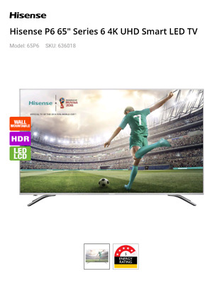 Hisense P6 65inch UHD HDR Smart LED LCD TV with 4 Yr (3yr extended) Warranty
