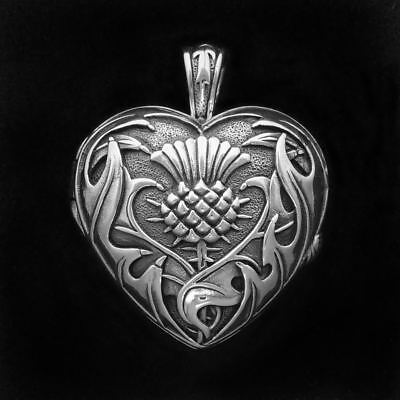 Heart and Scottish Thistle Locket – Hand Cast 92.5 Sterling Silver