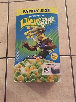 New Kelloggs Family Size Overwatch Lucio Ohs Cereal 18.7 Oz Box Sonic Vanilla