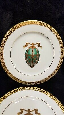 MINT/NEW Set of 2 Gold Buffet Royal Gallery Faberge Egg Porcelain Luncheon Plate
