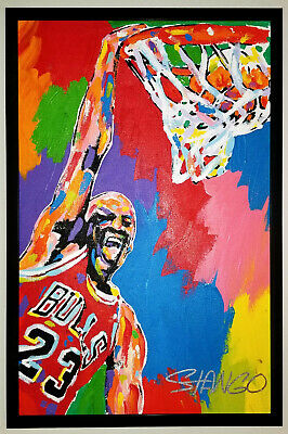 JOHN STANGO Signed Original MICHAEL JORDAN Dunk 18x28 Pop Art Canvas Painting