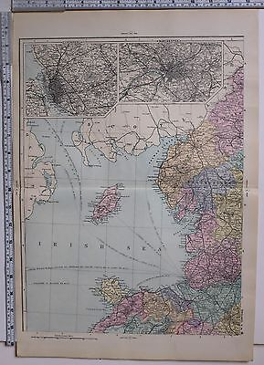 1891 Antique Map ~ England & Wales North West Liverpool Manchester Westmorland