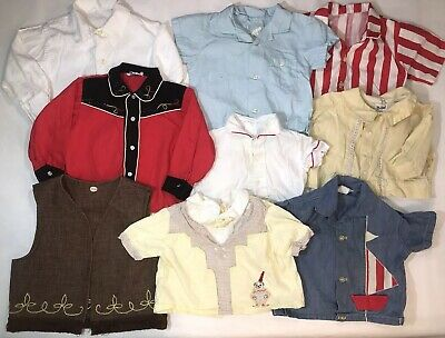 HUGE Lot of 9 Infant Vintage Baby Boys Tops Button Down Shirts Vest Handmade