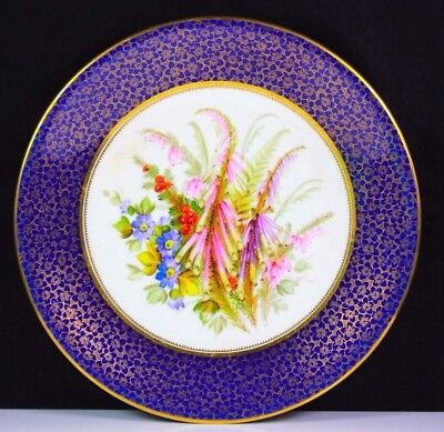 Antique Royal Worcester Hand Painted Flower Group Plate 1878