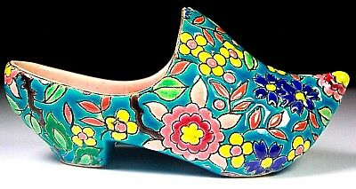 ANTIQUE FRENCH FAIENCE LONGWY POTTERY EMAUX DUTCH ENAMELLED SHOE c1890