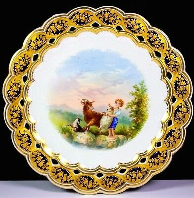 Antique Coalport Pierced Plate Painted Young Girl And Goats 1870
