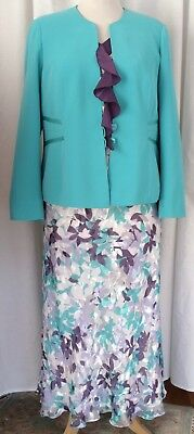 Jacques Vert 2 in 1 GREENGAGE IVORY PURPLE DEVORE SKIRT TOP SHAWL JACKET SKIRT