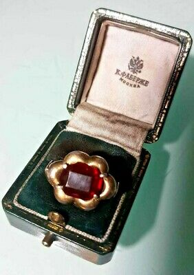 Rare imper. RUSSIAN 84 Silver RING with Ruby stone, AH workmaster Faberge design