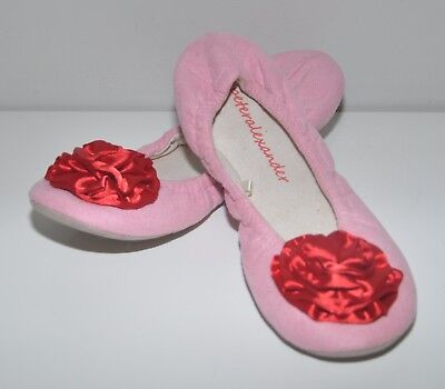 PETER ALEXANDER pink slippers with red rosettes Sz 8 BUY 5 items = FREE POST
