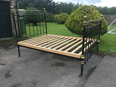 Antique Victorian Brass and Iron Double Bed