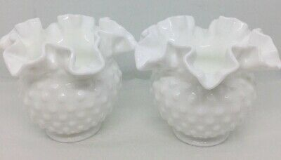 "Vintage FENTON Milk Glass Hobnail Vase White Ruffled Rose Bowl 4"" x 5""~ (Qty 2)"