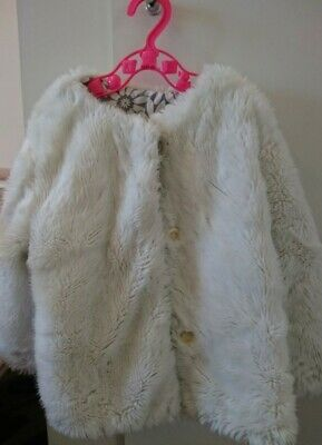 Girls M&S fluffy white jacket/coat 18-24 months (Twins)