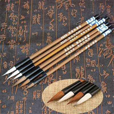 6pcs/set Traditional Chinese Calligraphy Bamboo Wolf's Hair Writing Brush Gift