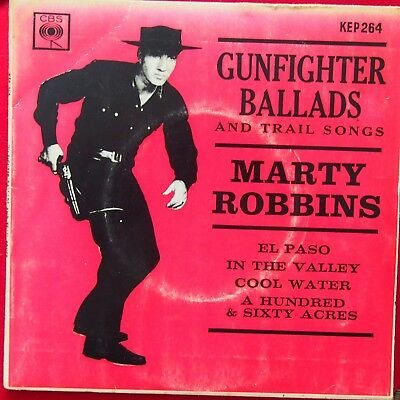 """7"""" EP Marty Robbins Gunfighter Ballads And Trail Songs 1959 Australian Release"""
