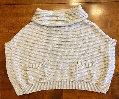 OLD NAVY COWL Neck Silver Sparkle Poncho Sweater Cotton