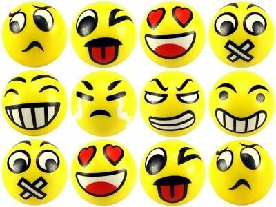 Set of 3Pcs Emoji Face Shaped Anti Stress Anxiety Relief Tool Squeeze Balls Toy
