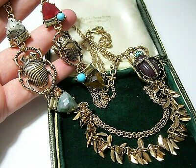 Beautiful Statement Long Necklace Art Deco Vintage Style Real Agate Beetle Drop