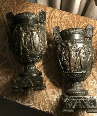 Antique Pair Of Bronze Neoclassical 19th Century W/Marble Base Urns