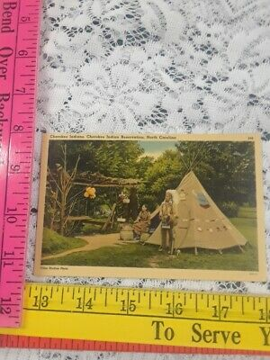 Vtg Cherokee Indians W/Teepee Native American Cherokee Nc Reservation Postcard