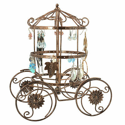MyGift Bronze-Tone Metal Carriage Earring Display Stand with Rotating Carousel