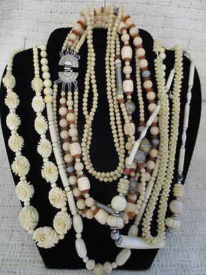 Vtg Antique Estate Ancient Bead Necklace Lot Glass Carved Plastic Old Jewelry