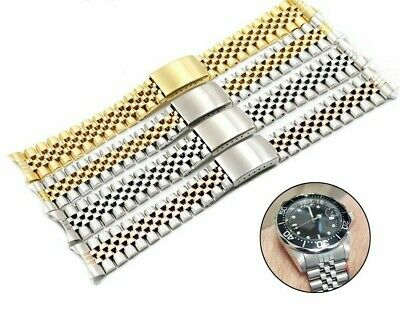Watch Band Strap Straight Hollow Curved End Solid Screw Links Jubilee Bracelet