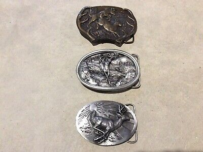 Lot Of Three Vintage Stag Buck Whitetail Deer Brass And Pewter Belt Buckles