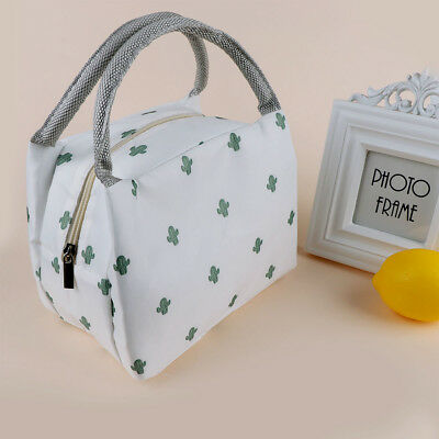 2f98319caa Portable Cartoon Cactus Print Travel Picnic Lunch Bag Tote Thermal  Insulated Bag