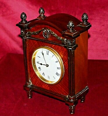 Antique Edwardian Solid Mahogany Architectural Mantle Clock Working