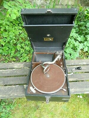His Master's Voice Mode 101 Portable Wind Up Gramophone