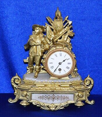 Antique French Gilt Spelter & Alabaster Mantle Clock  Working